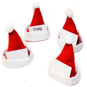 Set Of 4 Santa Hat Place Card Holders Polyester Home Decoration Christmas BNIP