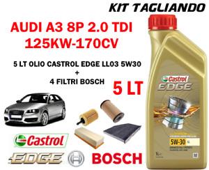 KIT TAGLIANDO OLIO CASTROL EDGE 5W30 5LT+4 FILTRI BOSCH AUDI A3 2.0 TDI 170CV