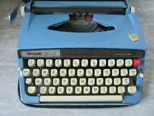 Old Vintage Brother Opus 888 Tabulator Light Blue Typewriter Made in Japan w/Cas
