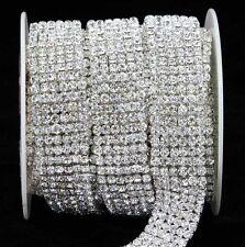 1 Yard 6 Rows Crystal Silver Rhinestone Trims Chain Banding Wedding Cake Decor