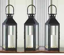 "3 Large 15"" tall BLACK Candle holder Lantern Lamp wedding table decoration"