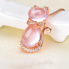 Crystal Rhinestone Opal Stone Cat Pendant Necklace Rose Gold Plated Chain