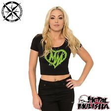 METAL MULISHA 'STRUNG OUT CROP' WOMENS CROP TOP T-SHIRT SMALL UK 8 BLACK RRP £25