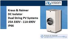 Kraus&Naimer K&N DC Isolator Dual String PV Systems 25A @ 330V - 11A @ 690V IP66