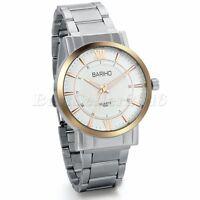 Fashion Men's Roman Numerals Stainless Steel Analog Quartz Dress Wrist Watch