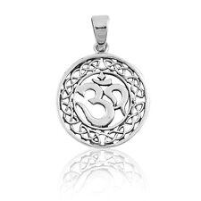 Men's / Unisex Celtic Knot Round Halo Om Sterling Silver Pendant