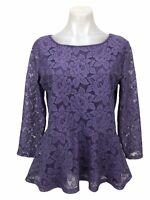 LOFT Purple 3/4 Sleeve Stretch Lace Women's Size M Peplum Blouse Top