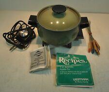 Vintage Westmark 2qt Electric Fondue Set Avocado Green Pot W/ 6 Forks vintage