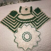 Lot of 4 Vintage Hand Crocheted Doilies Green Dress Hanging Potholders Round