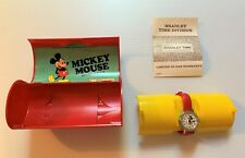 Vintage MICKEY MOUSE Bradley Time Wrist Watch w/ Plastic Case Box 1970's NEW