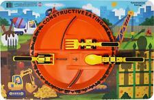 Constructive Eating Construction Plate Placemat 3 piece Construction Utensil Set