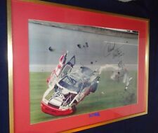"Darrell Waltrip signed RARE 1991 PEPSI 400 NASCAR Framed 34"" X 24"" Crash picture"