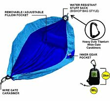 Hammock – 100% Parachute Material - Backpackers Double Ultra Light –Blue TwoTone
