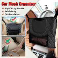 Upgrade Car Net Pocket Handbag Holder Between Car Seat Storage Bag Leather Black