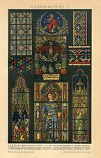 1895 STAINED GLASS WINDOWS ORNAMENT ART Antique Chromolithograph Print