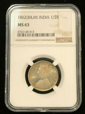 INDIA 1/2 Rupee 1862 B&M, NGC MS 63 Choice UNC, Superb Strike, Toning & Luster