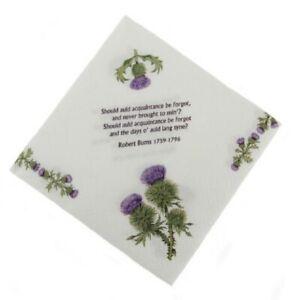 Scottish 3-Ply Paper Luncheon Napkins, 20 Pack - Thistle & Burns Poem Auld Lang
