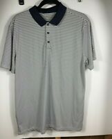Nike Golf Dri Fit Mens Large Navy/White Striped Polo Shirt