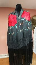 More details for antique piano shawl hand embroidery silk vintage roses 1910 stunning