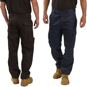 Mens Cargo Combat Work Trousers with Knee Pad Pockets Size 28 to 52 By BWM