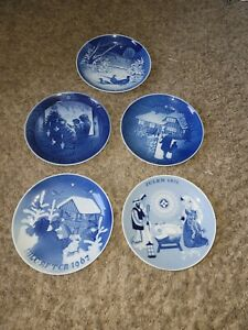 BING & GRONDAHL B&G CHRISTMAS PLATES FROM 1967-1981-  5 TOTAL Amazing Collection