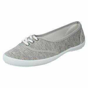 Spot On F8854 Ladies Grey Lace Up Textile Canvas Casual Summer Shoes