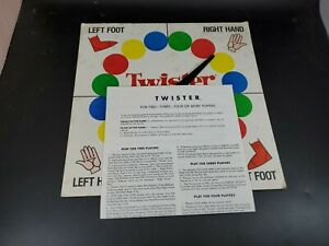 Vintage Twister Game 1966 Milton Bradley Spinner Board & Instructions