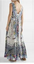 Camilla Silk Beaded Mirror V-neck Maxi Long Dress Size 12 Blue White Sundress