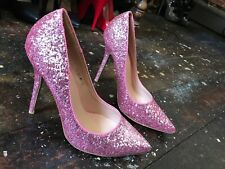 ❤️ Sexy VIVA Pink Sparkle Classic Pointed Toe Stiletto Heels EU40 UK6 Party