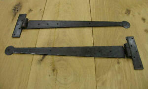 """PAIR OF 15"""" T HINGES HAND FORGED BLACK ANTIQUE IRON"""