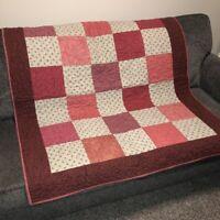 "Handmade Patchwork Lap Quilt 46""x53"" Rose Burgundy Blocks Furniture Throw EUC"