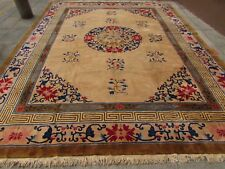 Antique Hand Made Tapis ART DECO CHINOIS Crème Or Laine Grand Tapis 400x308cm