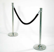 3 x Rope Barrier  + 2 x Black Rope Stainless Steel Crowd Control Post