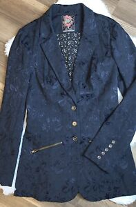Free People Victorian Lace Jacquard Jacket Blazer Women's Size 8 Navy Steampunk
