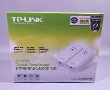 TP-Link AV1200 3-Port Gigabit Passthrough Powerline Starter Kit 4K 1200 Mbps