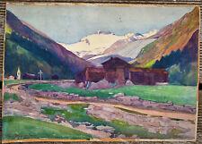 ancien tableau paysage de montagne alpes signé Paul Huguenin 1900