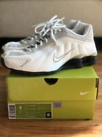 Nike Shox R4 Running Shoes White Gray Silver 304238-101 Size 8