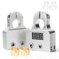 2X Car Battery Terminal Connectors with 12-24V Voltmeter 0 4 8 Gauge AWG Clamp