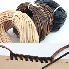 Flat  2mm/3mm/5mm Real Genuine Leather Thong String Cord 3 Color Choose