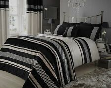SUPER KING DUVET COVER SET STEFFAN BISCUIT BEIGE BLACK BLING SEQUINS LUXURY