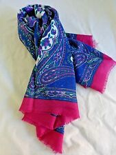 "Vintage Fashion Scarf Purple Roses Paisley Blue Pink Green 32"" x 32"" Polyester"