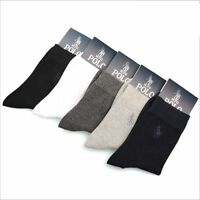 5 Pairs Men's polo Business Casual Style Solid Crew Quarter Dress Cotton Socks