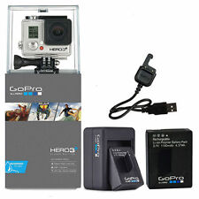 GoPro Hero3+ Silver Edition Camera Camcorder +Two GoPro Batteries & Charger New