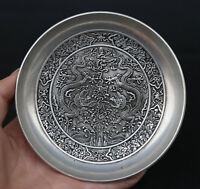 """5""""Chinese Miao Silver Hand Carving Animal Two Dragon Flower Pretty Small Plate"""