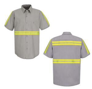 Red Kap Enhanced Visibility Hi Vis Reflective Safety Work Towing Uniform Shirts