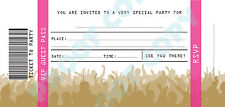 #76 CONCERT TICKETS kids children birthday party INVITATIONS Pack of 10