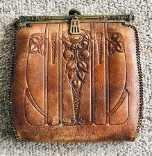 Vintage Turn Lock Tooled Floral Leather Clutch