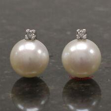 14k White Gold Sparkling Diamond; Genuine 9.5mm Cultured Pearl Stud Earrings TPJ