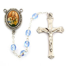 Rosary St Dymphna Pewter Silver 5 Decade Blue Crystal Beads Vintage Catholic Box