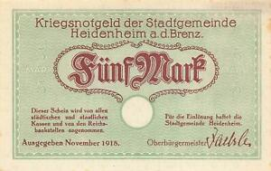 Heidenheim a.d. Brenz  - 5 Mark  - Geiger 227.01b    #4332